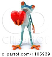 Clipart 3d Turquoise Springer Frog Holding A Heart 2 Royalty Free CGI Illustration