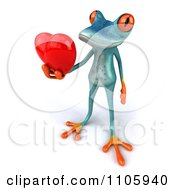 Clipart 3d Turquoise Springer Frog Holding A Heart 3 Royalty Free CGI Illustration