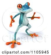 Clipart 3d Turquoise Springer Frog Doing A Happy Dance 5 Royalty Free CGI Illustration