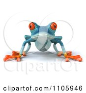 Clipart 3d Turquoise Springer Frog Facing Forward Royalty Free CGI Illustration
