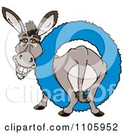 Clipart Happy Donkey In A Blue Ring Royalty Free Vector Illustration by Dennis Holmes Designs