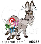 Clipart Donkey With A Target And Tails Pinned On His Butt Royalty Free Vector Illustration by Dennis Holmes Designs