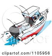 Clipart Motor Boat Royalty Free Vector Illustration
