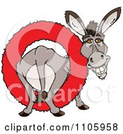 Clipart Happy Donkey In A Red Ring Royalty Free Vector Illustration by Dennis Holmes Designs