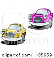 Clipart Pink And Yellow Cars Royalty Free Vector Illustration