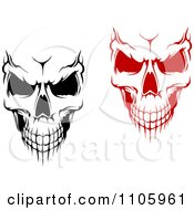 Clipart Evil Black And White And Red Skulls Royalty Free Vector Illustration