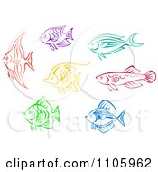 Clipart Colorful Fish Icons Royalty Free Vector Illustration by Vector Tradition SM