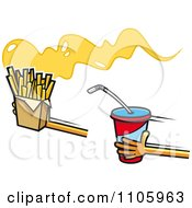 Clipart Hands Holding Out French Fries And Soda Royalty Free Vector Illustration