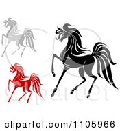 Clipart Red Gray And Black Horses Walking Royalty Free Vector Illustration