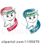 Clipart Happy Teeth Being Scrubbed With Brushes Royalty Free Vector Illustration