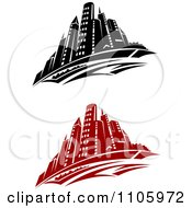 Black And White And Red City Skyline