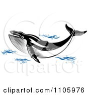 Clipart Black And White Humpback Whale In Blue Waves Royalty Free Vector Illustration by Vector Tradition SM