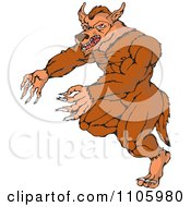 Clipart Fantasy Werewolf Attacking Royalty Free Vector Illustration by patrimonio