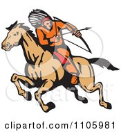 Clipart Native American Male Archer Aiming On Horseback Royalty Free Vector Illustration