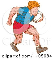 Clipart Woodcut Styled Rugby Player Running With The Ball Royalty Free Vector Illustration