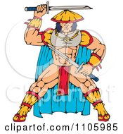 Clipart Samurai Warrior With Katana Swords Royalty Free Vector Illustration by patrimonio