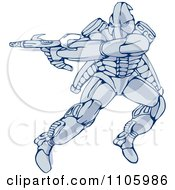 Clipart Mecha Warrior Robot Jumping And Shooting A Gun Royalty Free Vector Illustration