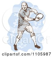 Clipart Rugby Player Running With The Ball Over Blue Royalty Free Vector Illustration