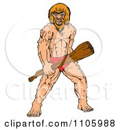 Buff Caveman Standing And Holding A Wood Club
