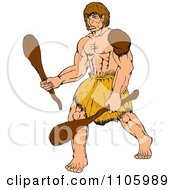Clipart Buff Caveman Holding Two Wood Clubs Royalty Free Vector Illustration by patrimonio