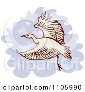 Clipart Heron Or Crane Bird In Flight Royalty Free Vector Illustration by patrimonio