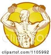 Clipart Male Bodybuilder Using Dumbbells In A Yellow Ray Circle Royalty Free Vector Illustration