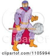 Clipart Executioner Super Hero Holding A Medieval Axe Royalty Free Vector Illustration by patrimonio