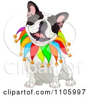 Clipart Happy French Bulldog Jester Sitting And Winking Royalty Free Vector Illustration by Pushkin
