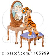 Cute Tiger Cub Standing On A Stool And Looking Curiously In His Reflectin In A Mirror