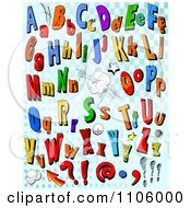 Clipart Comic Letters And Punctuation On Blue Checkers Royalty Free Vector Illustration by Pushkin