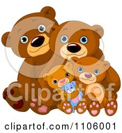 Happy Bear Familiy Cuddling Together