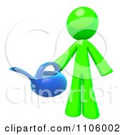 3d Lime Green Man Holding A Watering Can