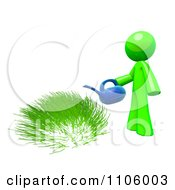 Clipart 3d Lime Green Man Watering Grass Royalty Free CGI Illustration