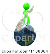Clipart 3d Lime Green Man Janitor With A Mop On Earth Royalty Free CGI Illustration