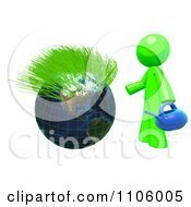 Clipart 3d Lime Green Man With A Watering Can And Sprouting Globe Royalty Free CGI Illustration