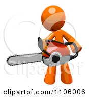 Poster, Art Print Of 3d Orange Man Using A Chain Saw 1
