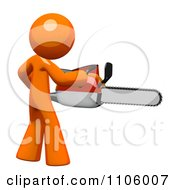 Poster, Art Print Of 3d Orange Man Using A Chain Saw 2