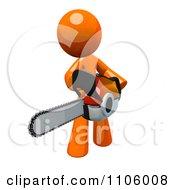 Clipart 3d Orange Man Using A Chain Saw 3 Royalty Free CGI Illustration
