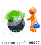 3d Orange Man With A Watering Can And Sprouting Globe 1