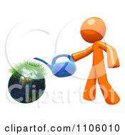 3d Orange Man With A Watering Can And Sprouting Globe 3