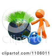 3d Orange Man With A Watering Can And Sprouting Globe 2