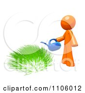 Clipart 3d Orange Man Watering Green Grass Royalty Free CGI Illustration