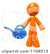 Clipart 3d Orange Man Holding A Watering Can Royalty Free CGI Illustration