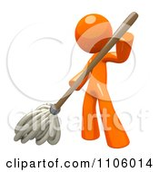 Clipart 3d Orange Man Mopping Royalty Free CGI Illustration