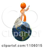 3d Orange Man Mopping On A Globe