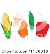 Clipart Whole Foods Corn Mushroom Sweet Potato Zucchini And Red Bell Pepper Produce Vegetables Royalty Free Vector Illustration by yayayoyo