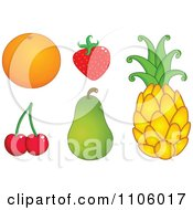 Clipart Whole Foods Navel Orange Strawberry Cherries Pear And Pineapple Fruits Royalty Free Vector Illustration by yayayoyo