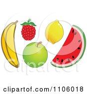 Clipart Whole Foods Banana Raspberry Apple Lemon And Watermelon Fruits Royalty Free Vector Illustration by yayayoyo