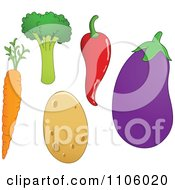 Clipart Whole Foods Carrot Broccoli Potato Chili Pepper And Eggplant Produce Vegetables Royalty Free Vector Illustration by yayayoyo