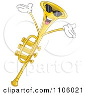 Clipart Happy Trumpet Instrument Character Royalty Free Vector Illustration